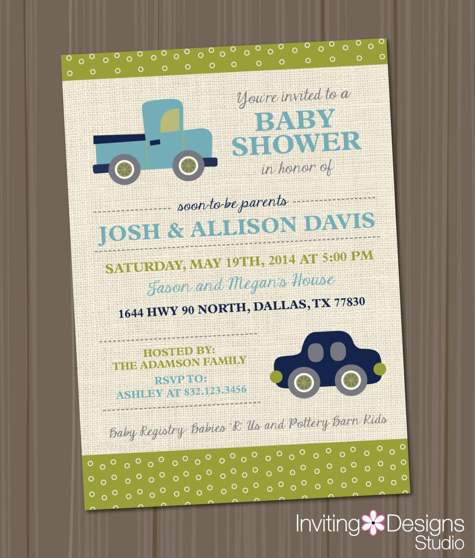 Boy Baby Shower Invitation Vintage Toys Transportation Truck Car ...
