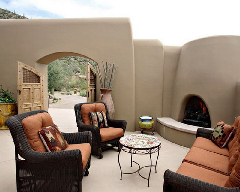 Cozy And Comfy Southwestern Style Patio Furniture With Custom Fireplace Ideas
