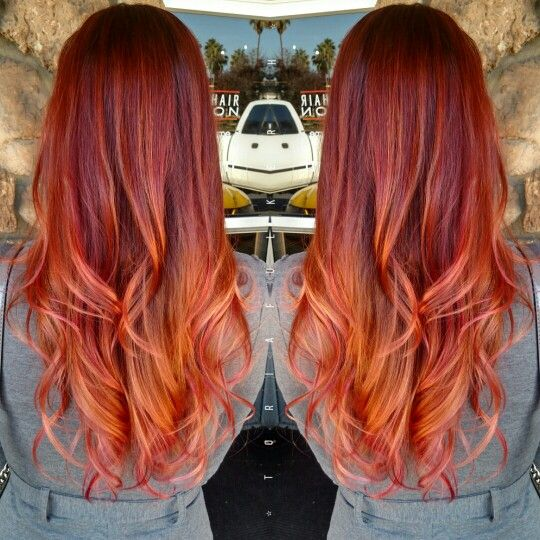 Fiery Red Copper Pink Sunset Hair