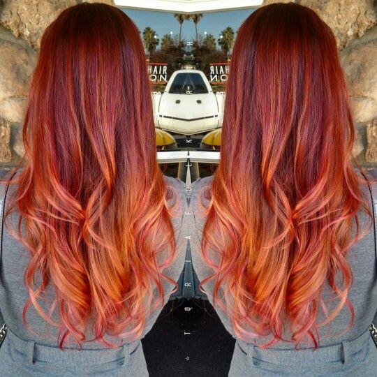 Fiery Red Copper Pink Sunset Hair  Toria Hair And Makeup Artist  Pinterest