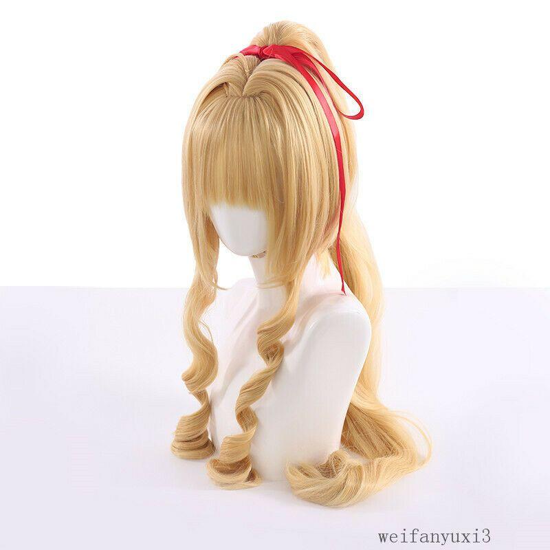 Kamikaze Kaitou Jeanne Kusakabi Maron Long Wavy Clip Ponytail Cosplay Wig Hair