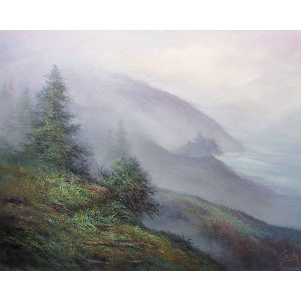 Big Sur View, Landscape and Seascape, Original Oil Painting. Fine art... ($625) ❤ liked on Polyvore featuring home, home decor, wall art, landscape wall art, seascape oil painting, seascape wall art and landscape oil painting