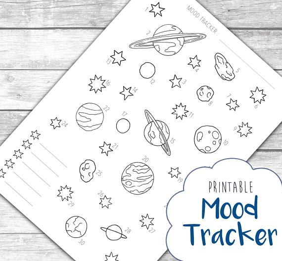 Outer Space Mood Tracker Printable  Bullet Journal Page Download