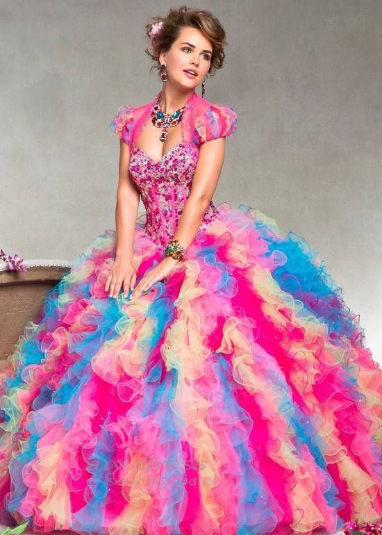 Fashion Quinceanera Dresses Rainbow color Free Jacket Ball Gowns ...