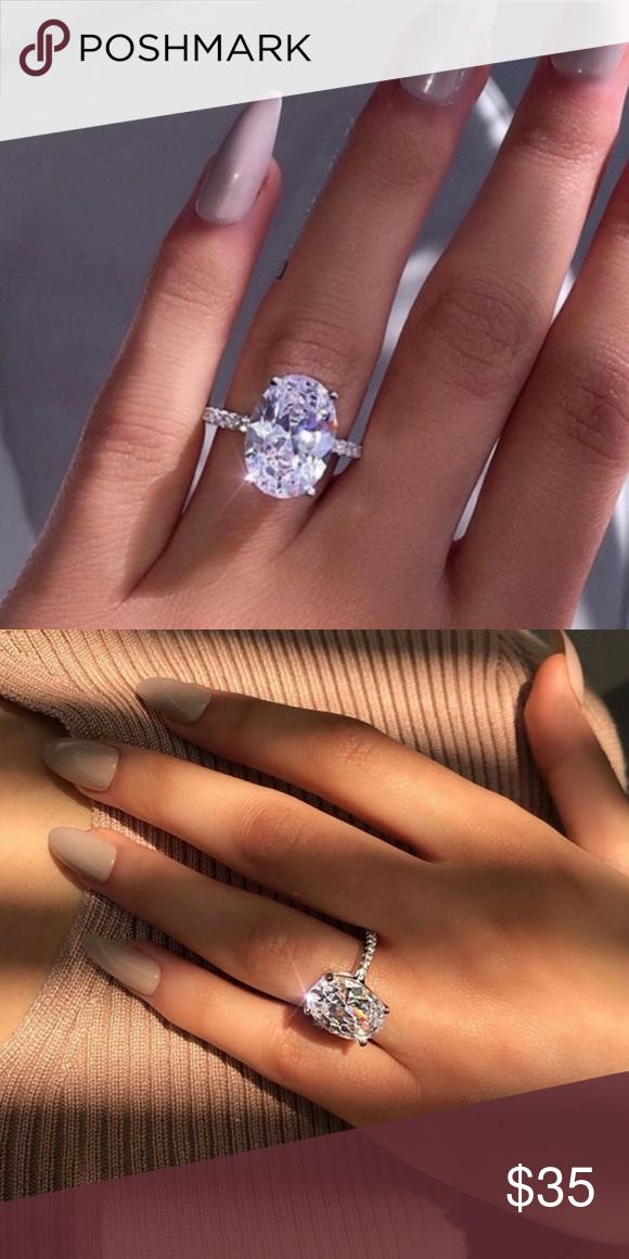 604e665fc2f18 Ring Trendy Women Big Oval Cubic Zirconia Plated Fantasy jewels ...