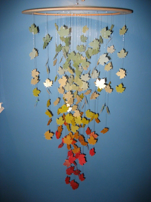 Autumn Leaves Paper Mobile Mobile Basteln Papier, Papier Kronleuchter,  Basteln Herbst, Bastelei,