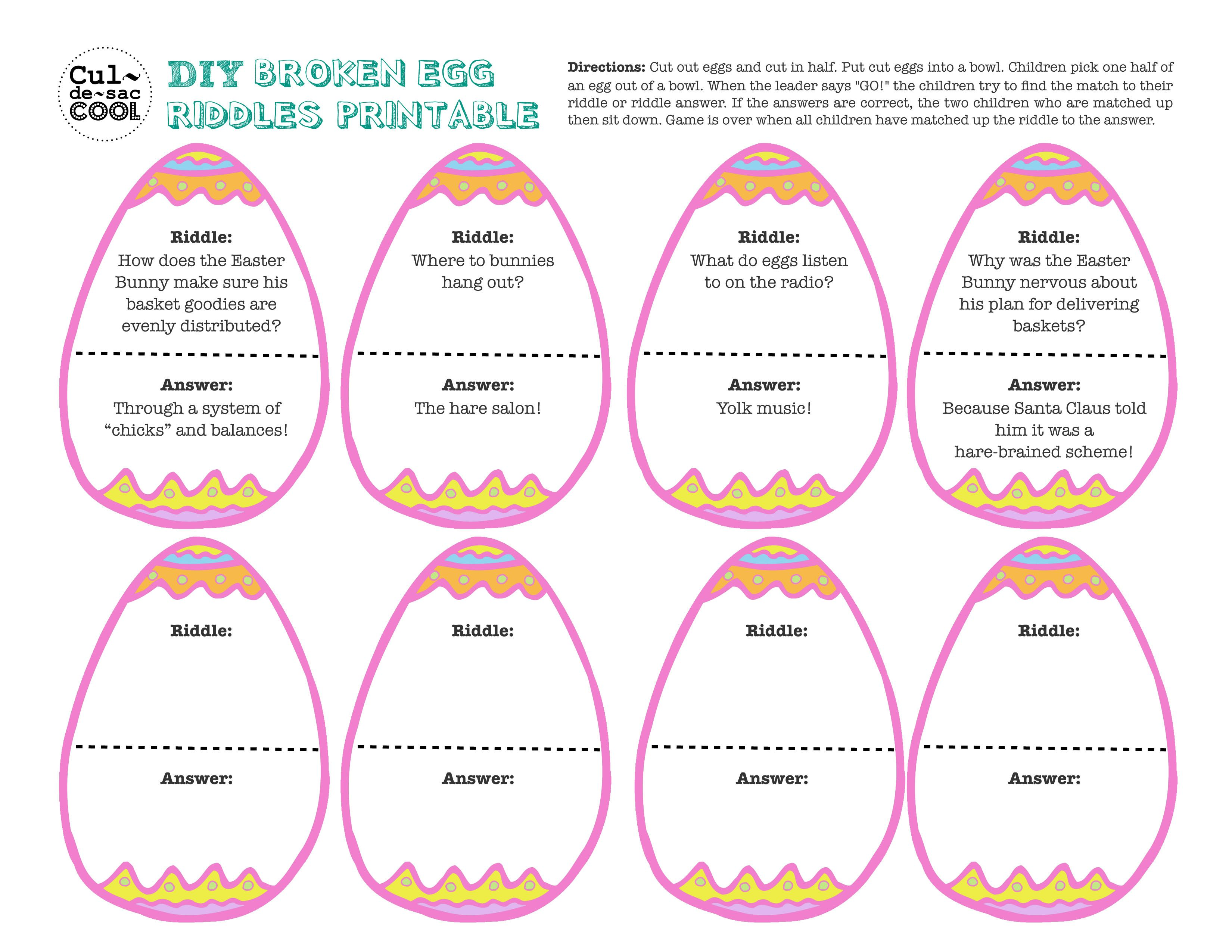 Broken Eggs Riddle   Red hats   Pinterest   Easter party games ...