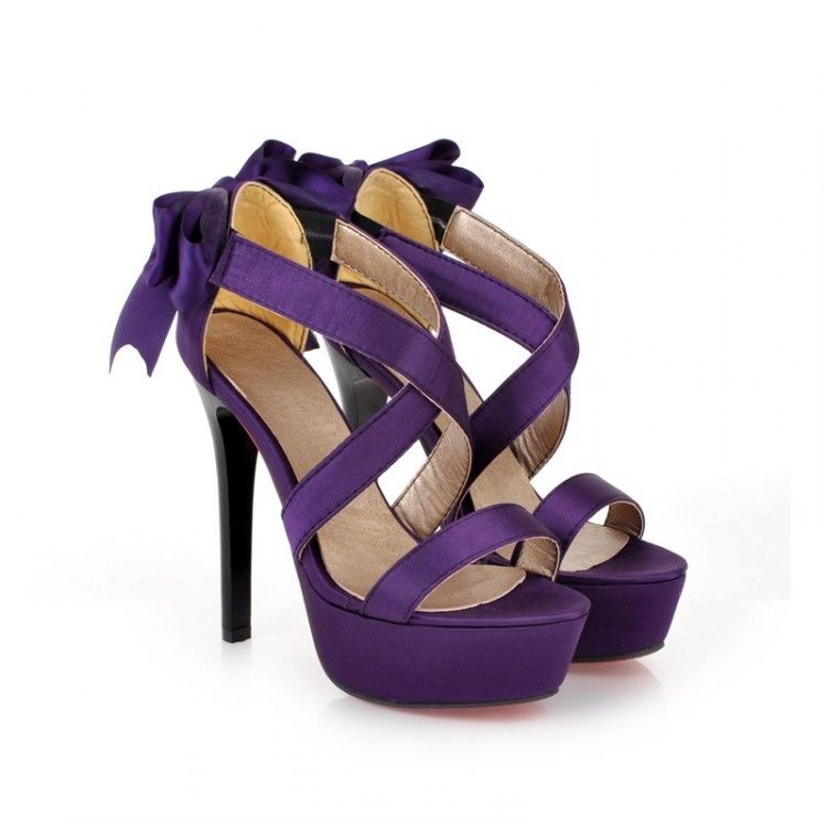 Purple High Heels With Bow