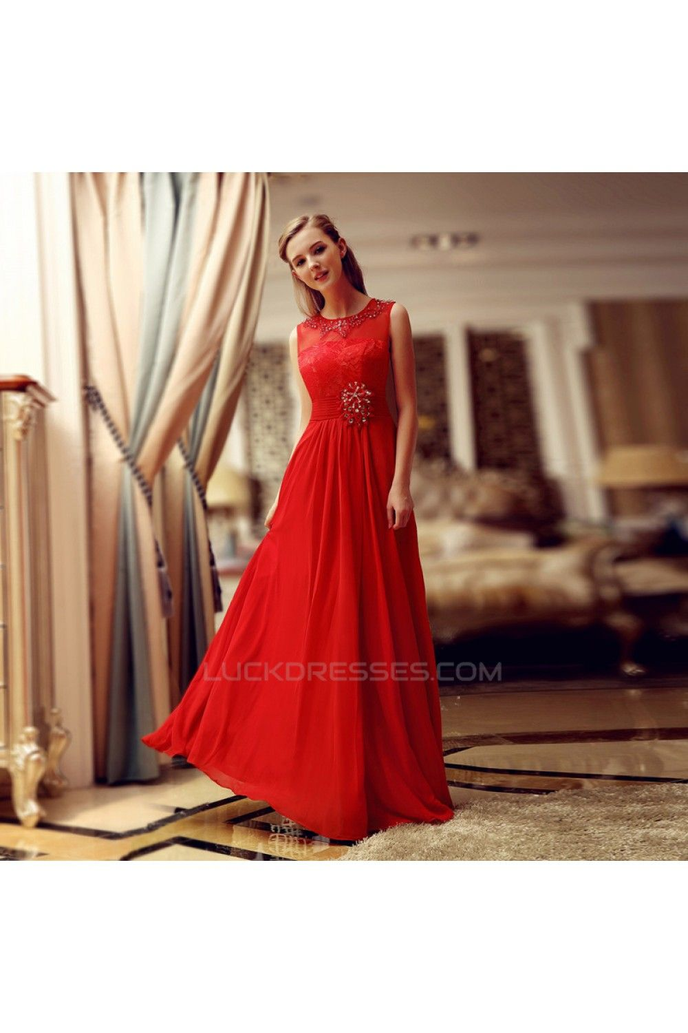 Aline jewel beaded long red lace and chiffon prom evening formal