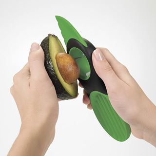 Do you like avocados but find them hard to slice?  Here is the gadget for you - an OXO Good Grips 3-in-1 Avocado Slicer.