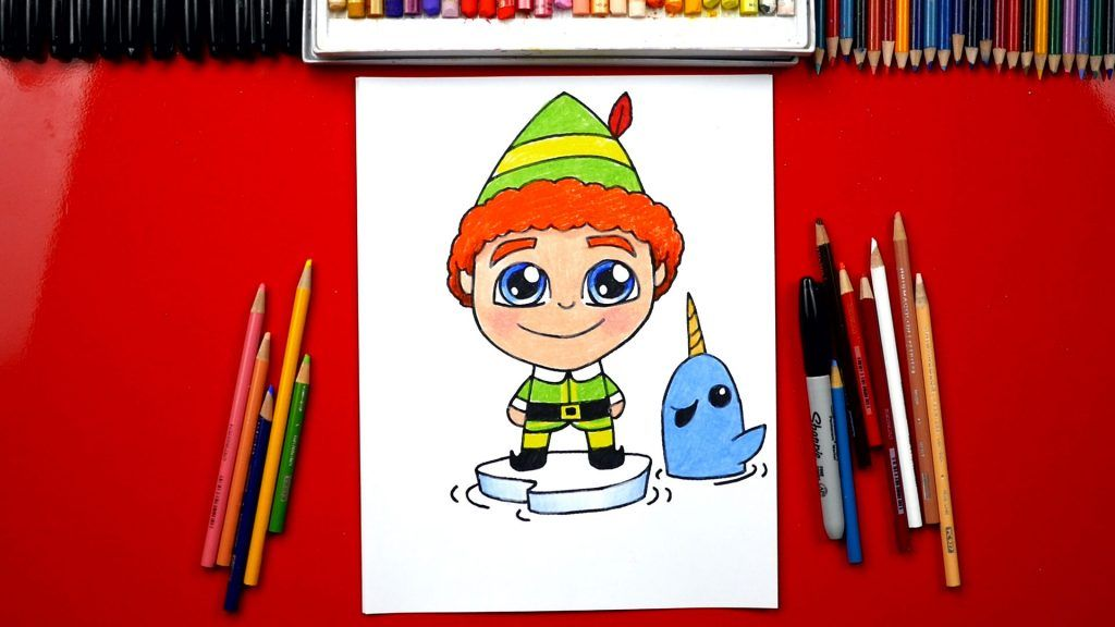 How To Draw Buddy The Elf And Mr Narwhal Art For Kids Hub Elf Drawings Narwhal Art