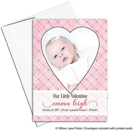 Valentine birth announcement card baby girl birth announcements