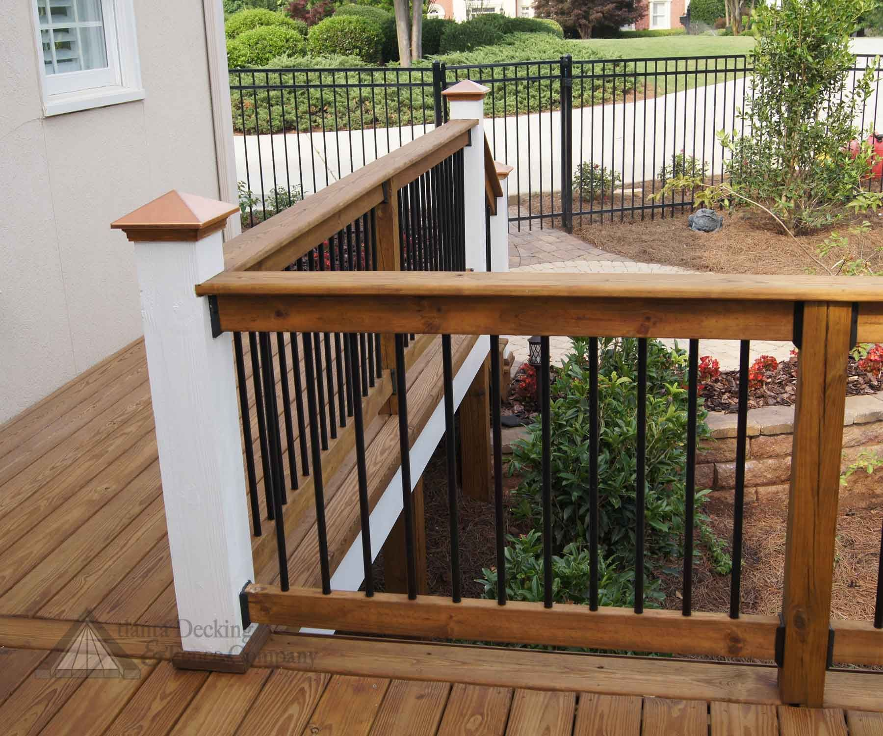 Modern handrail outdoor wallpaper deck railing ideas for Garden decking banister