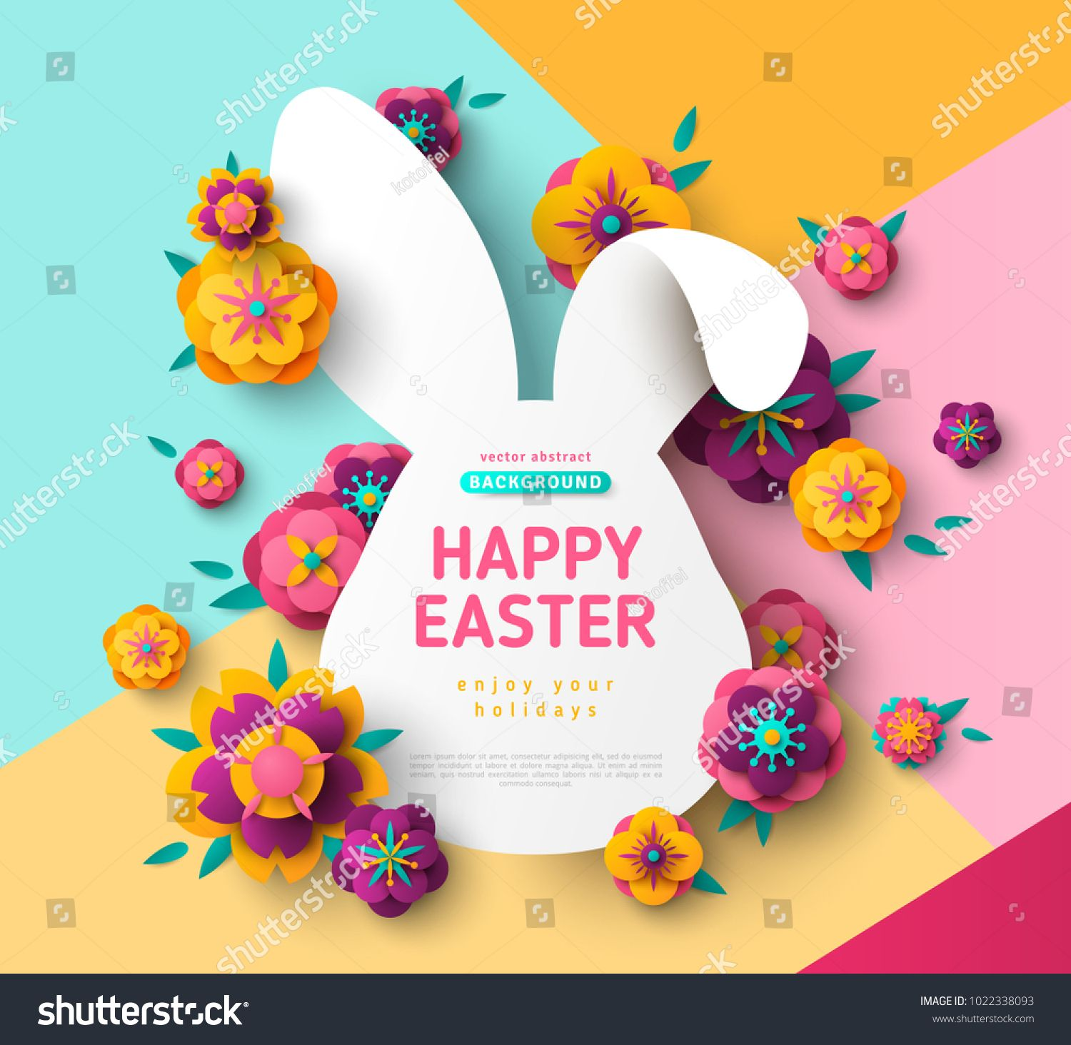 Easter Card With Bunny Rabbit Shape Frame Spring Flowers On