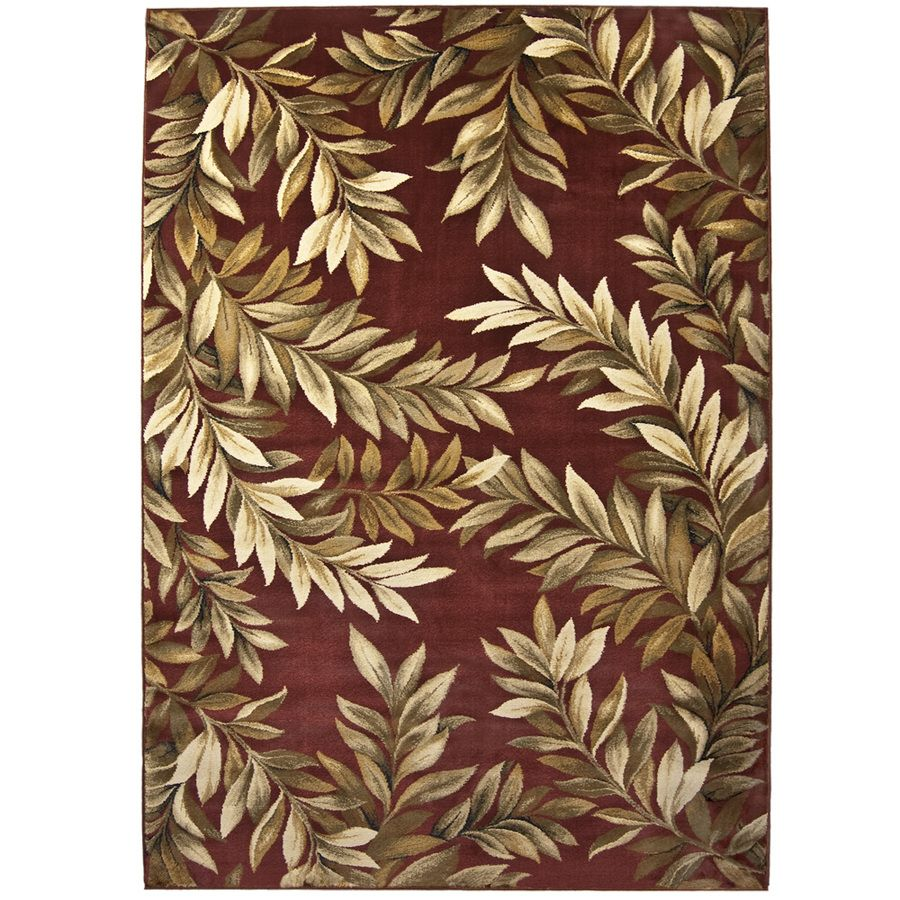 Shop allen + roth Haiku 7-ft 10-in x 10-ft 10-in Rectangular Red Floral Area Rug at Lowes.com
