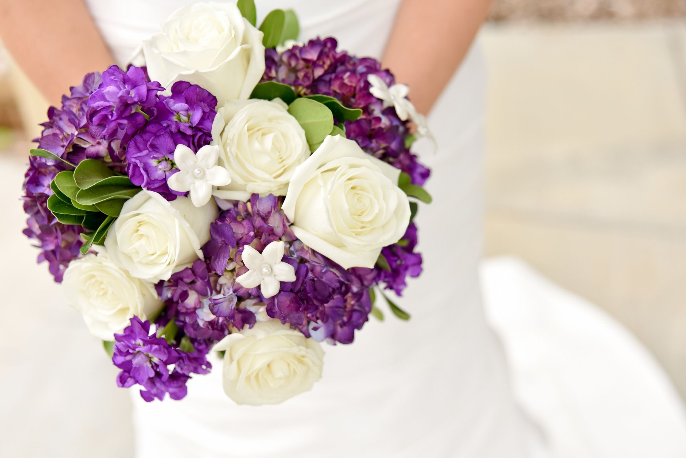 Purple And White Bridal Bouquet Inspiration White Roses Purple
