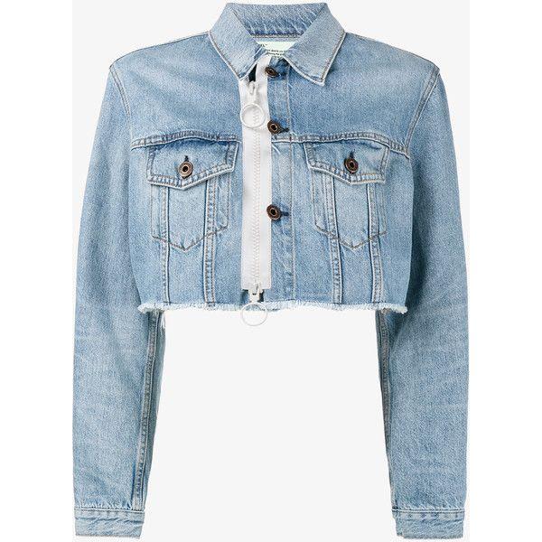 Off White Cropped Zip Denim Jacket 8 585 Mxn Liked On Polyvore Featuring Outerwear Jackets Blue Denim Jacket Jeansjacke Abgeschnittene Jeansjacke Tuch
