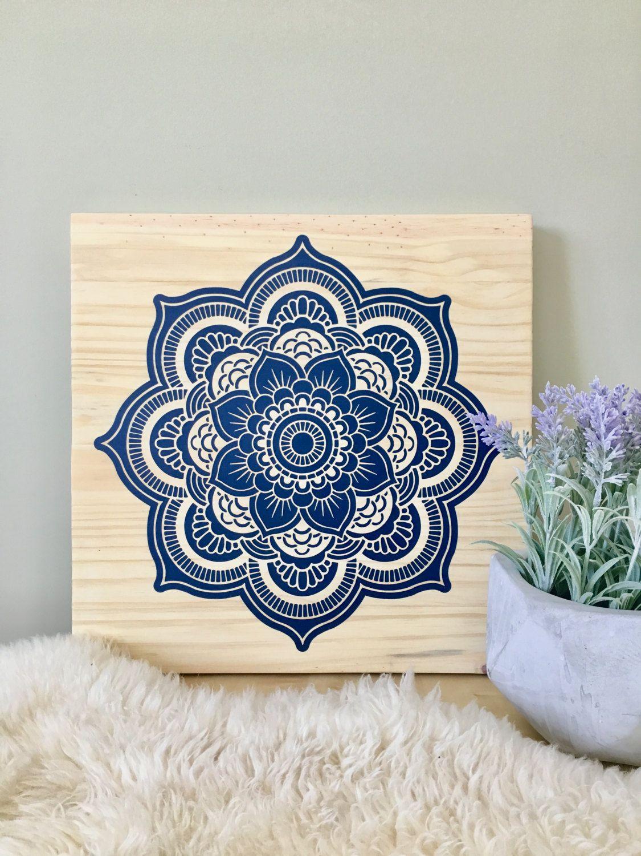 wood wall art mandala painting navy blue mandala blue mandala art