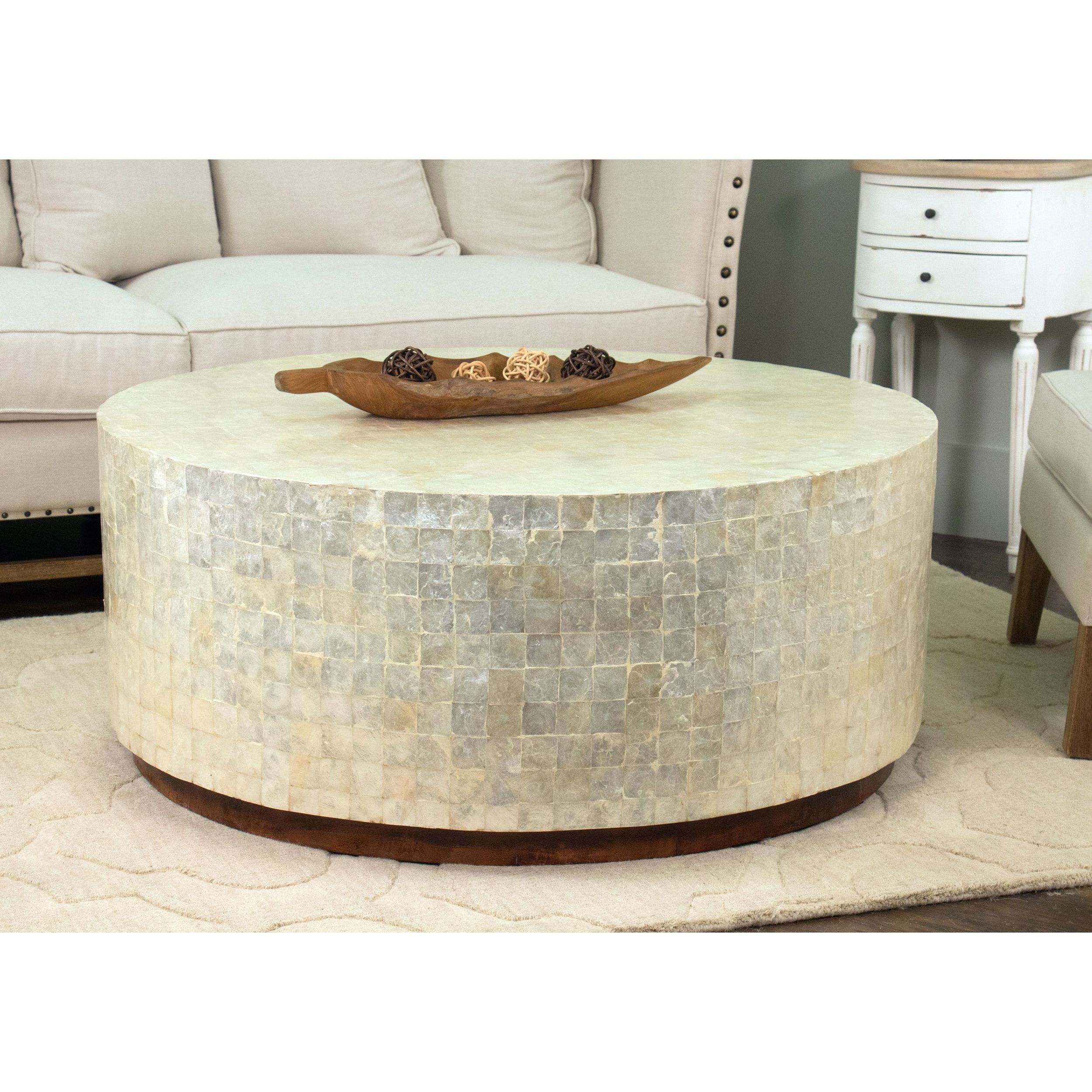 This Elegant Round Coffee Table Features Beautiful White Capiz Shells That Form A Modern Geometric Design Offers Elegance And Would Look Great