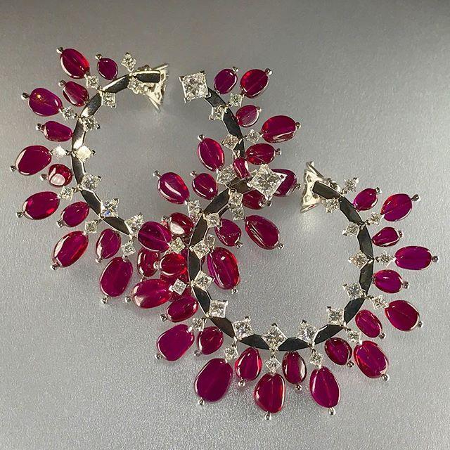 Alexandre Reza Accessories Pinterest Burmese Ruby Diamond Hoop Earrings And Gold Hoops