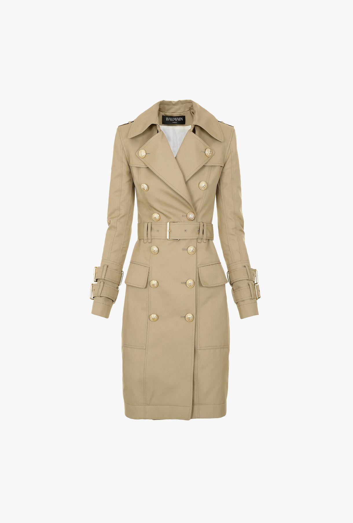 57835fdd1aa9 BALMAIN Long cotton trench coat Outerwear Woman f
