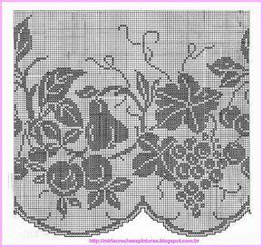 Schemi Tende A Filet Per Cucina.Tendina All Uncinetto A Filet Per La Cucina Crochet Crochet