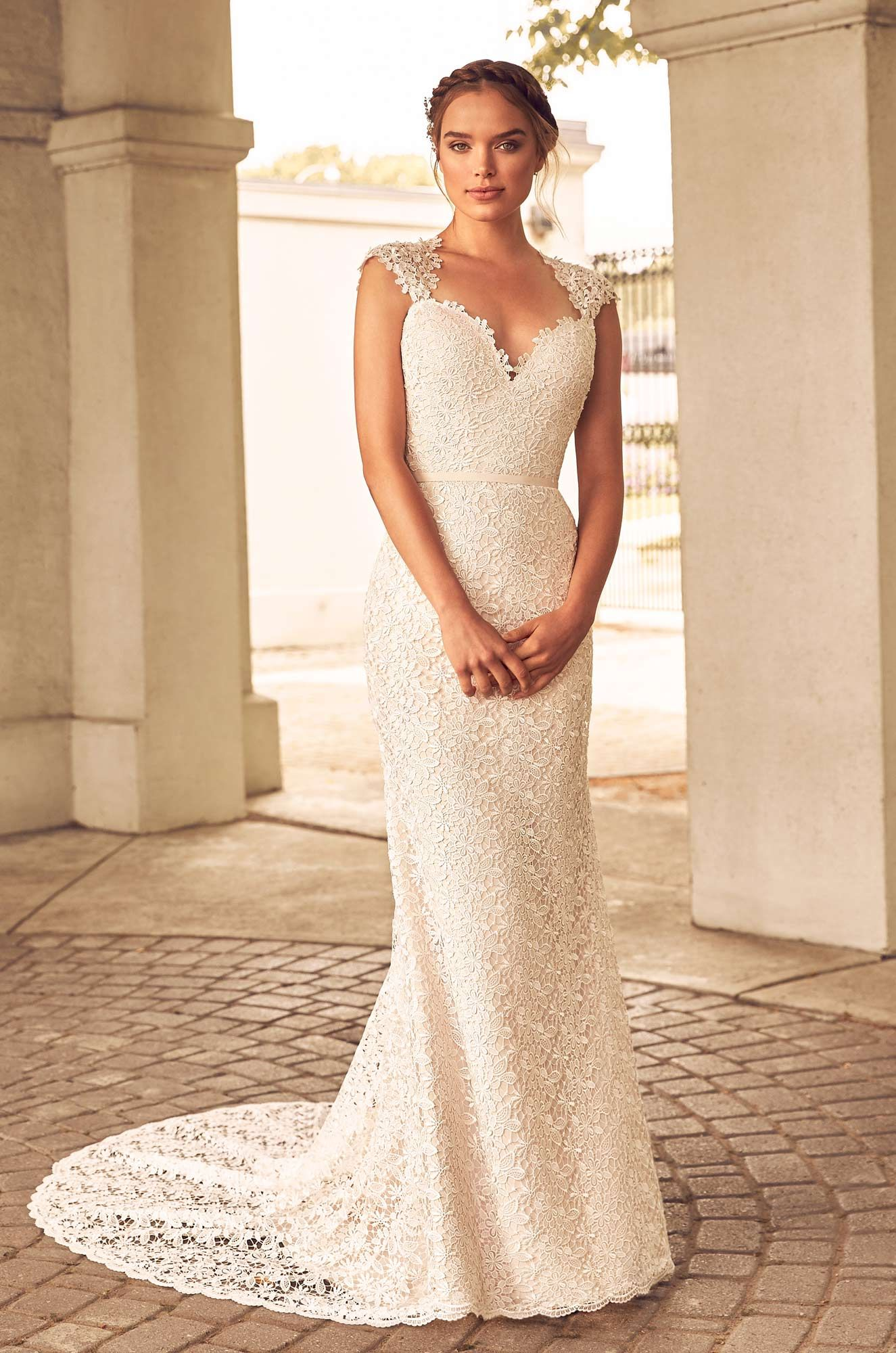 Floral Lace Wedding Dress - Style #4784 | Paloma blanca, Lace ...