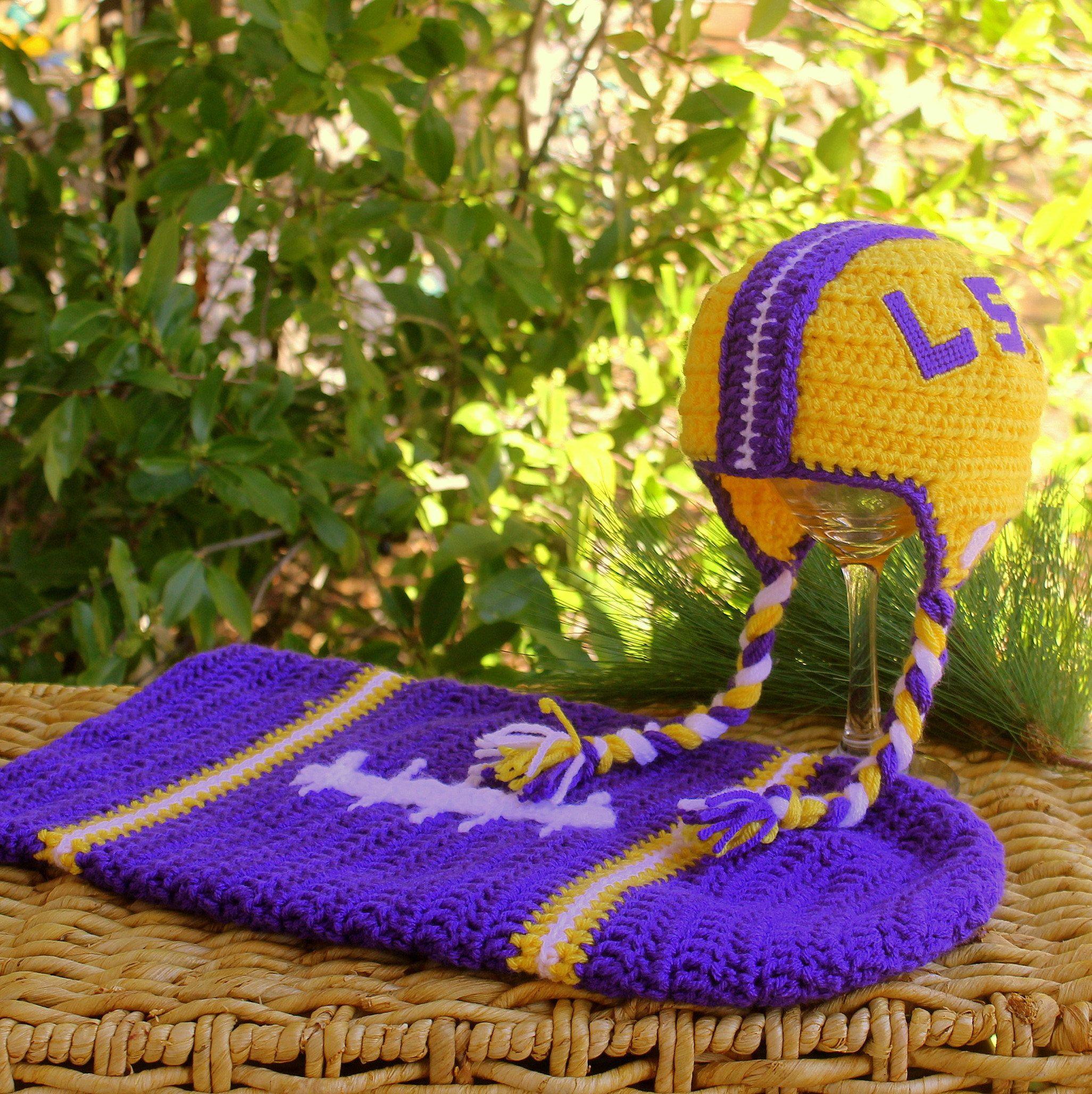 Baby FOOTBALL Cocoon, Newborn LSU Football swaddle, LOUISIANA State ...
