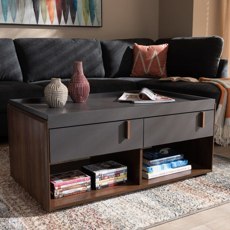 Askern Coffee Table With Tray Top And Storage Coffee Table Coffee Table Grey Coffee Table Wood