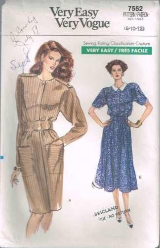 7552 Sewing Pattern Vintage Vogue Dress 8 10 12