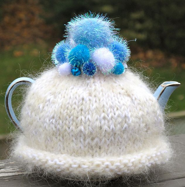 Ravelry: Winter Wonderland free pattern by Cynthia Brumpton. This tea cosy is knitted in the round on double pointed needles, using a strand of Bernat Satin and a strand of mohair held together, to give it that lovely fluffy look.