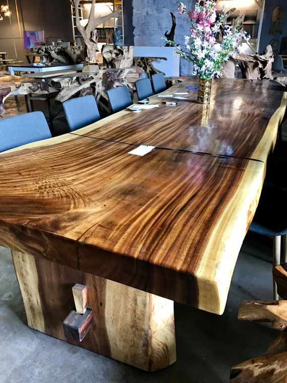 SOLD Large Live Edge Dining Table Or Conference Table Foyer - Large wooden conference table