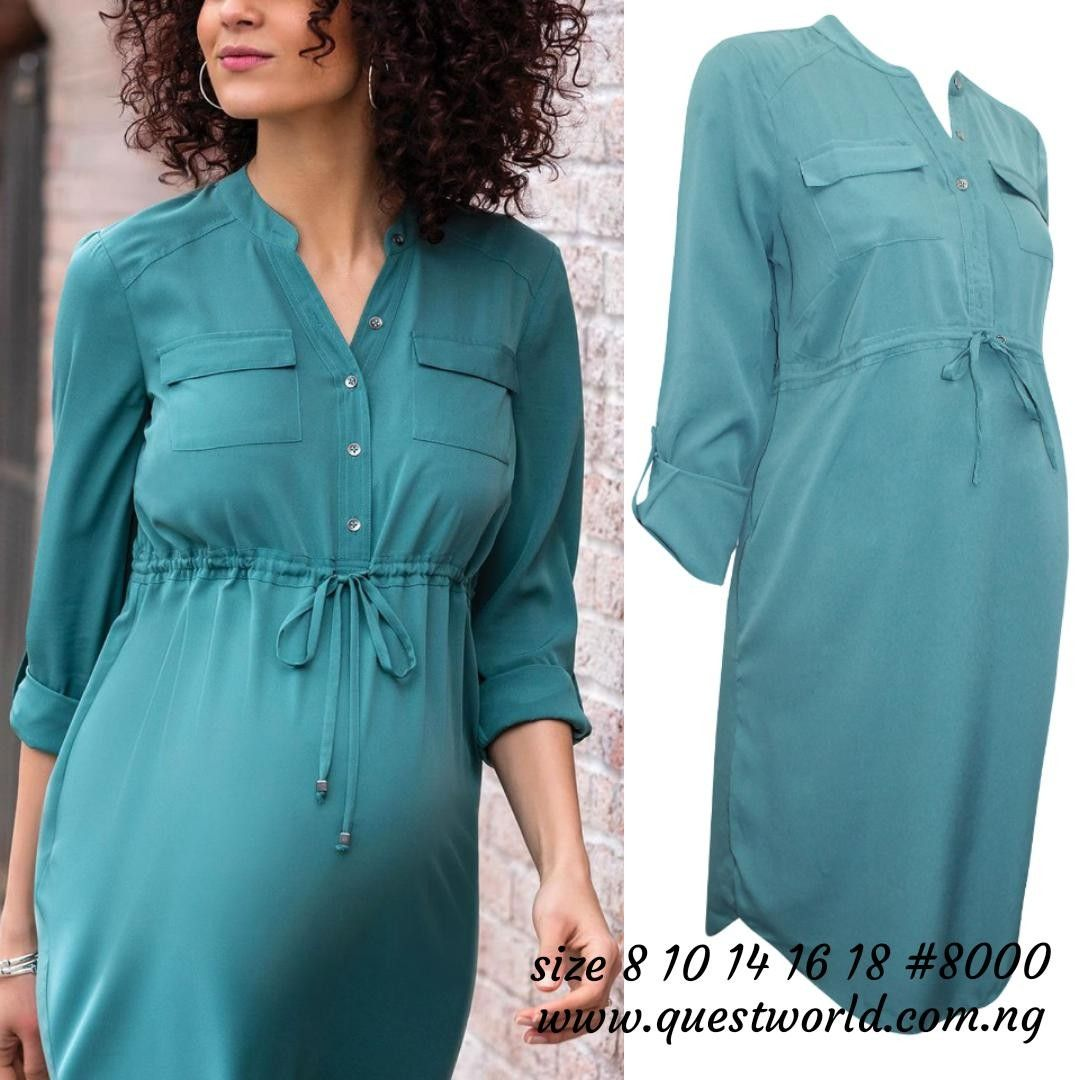 f429569aebb Green Roll Sleeve Maternity Shirt Dress 10% off all! Enter discount code   QW10