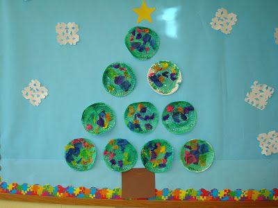 Trinity Preschool Mount Prospect: Snowman and Christmas bulletin board at Trinity Preschool #decemberbulletinboards