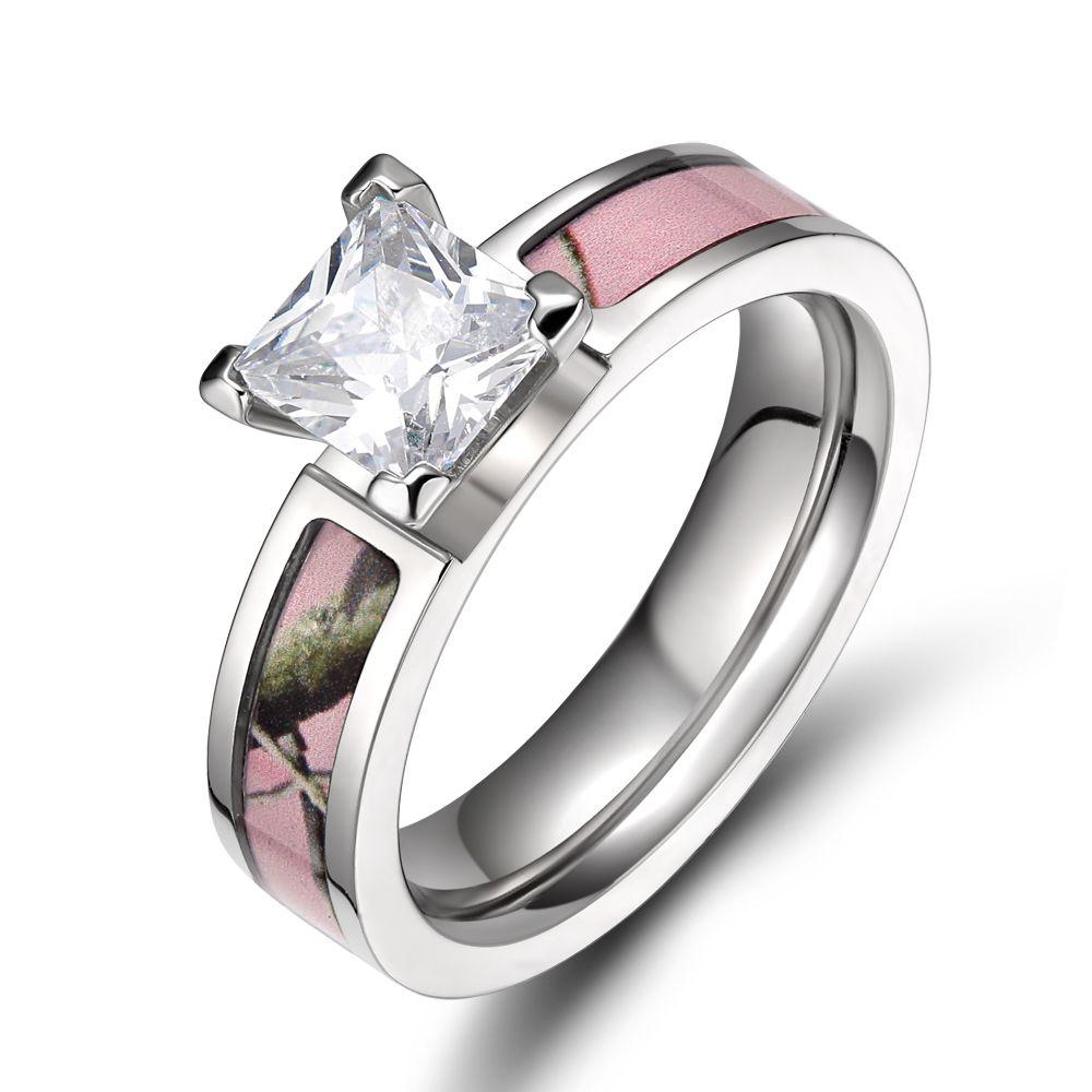 new fashion ring for women titanium 5mm light pink tree camo ring engagement rings camo wedding - Camo Wedding Rings For Women