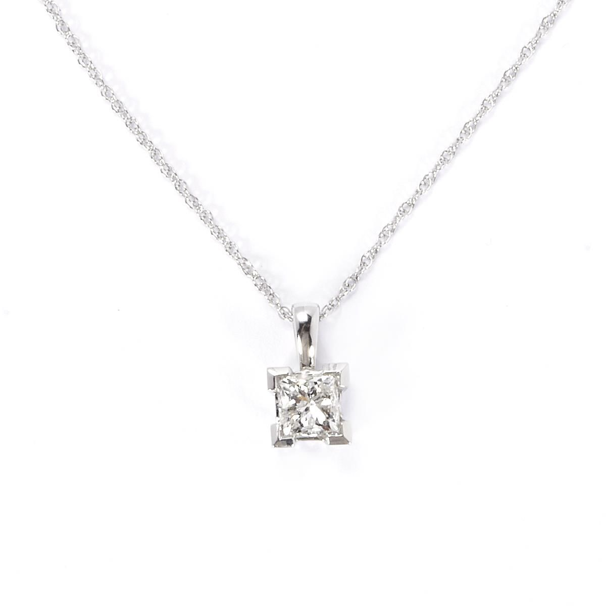 solitaire princess mark michael cut white necklace diamond gold