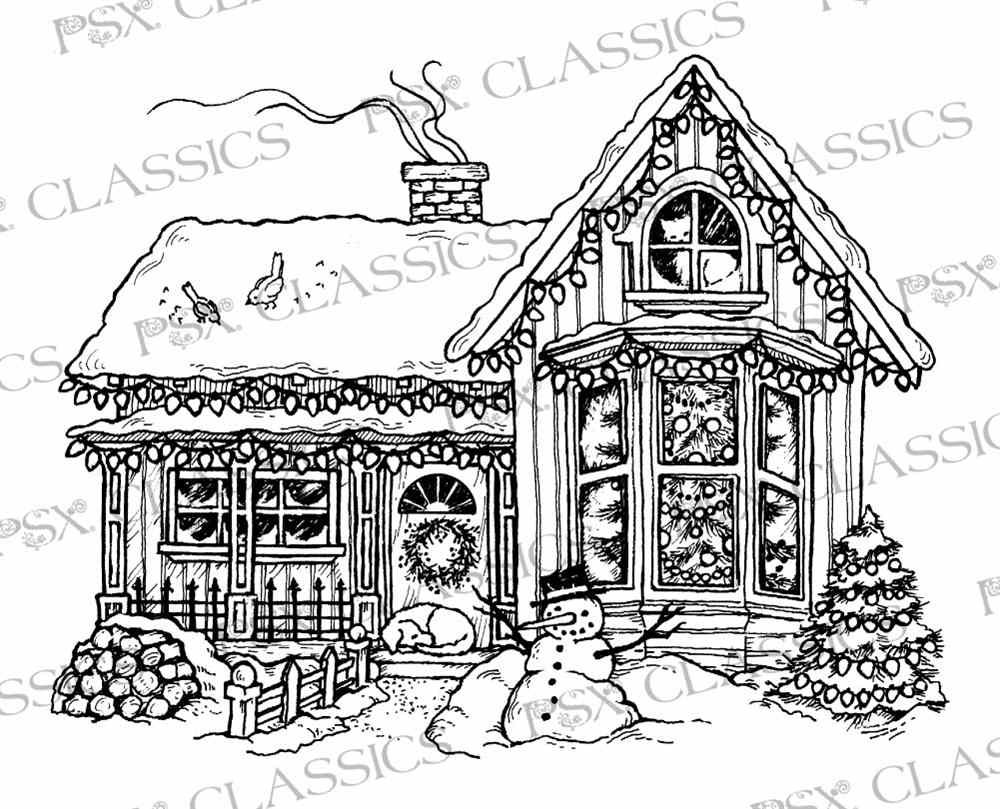 Christmas House Psx Design Classics On Www Addictedtorubberstamps Com Christmas Coloring Pages Coloring Pictures Christmas Colors