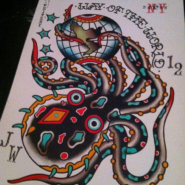 Octopus Tattoo Flash World Globe Jeremy Whitley Tattoos