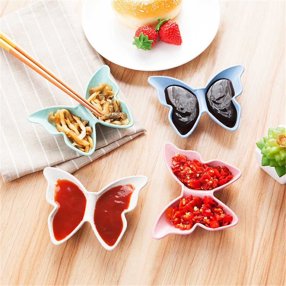 Saingace Dishes Natural Degradation Of Wheat Straw Butterfly Shaped Plate Sauces