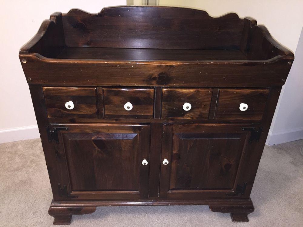 Vintage Ethan Allen Old Tavern Antiqued Pine Dry Sink ...