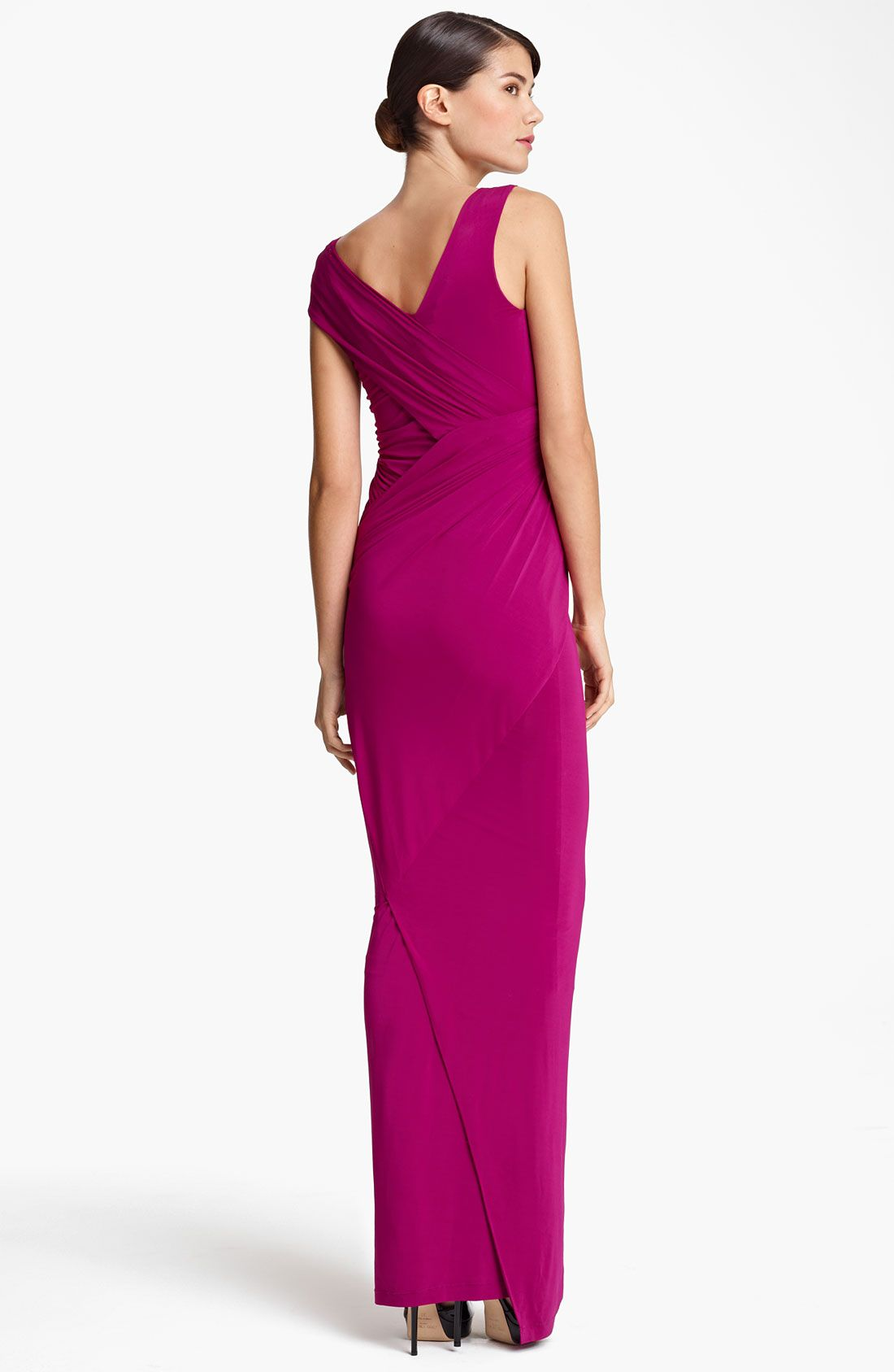 Donna Karan New York Collection Cap Sleeve Jersey Gown in Purple (lipstick red) | Lyst