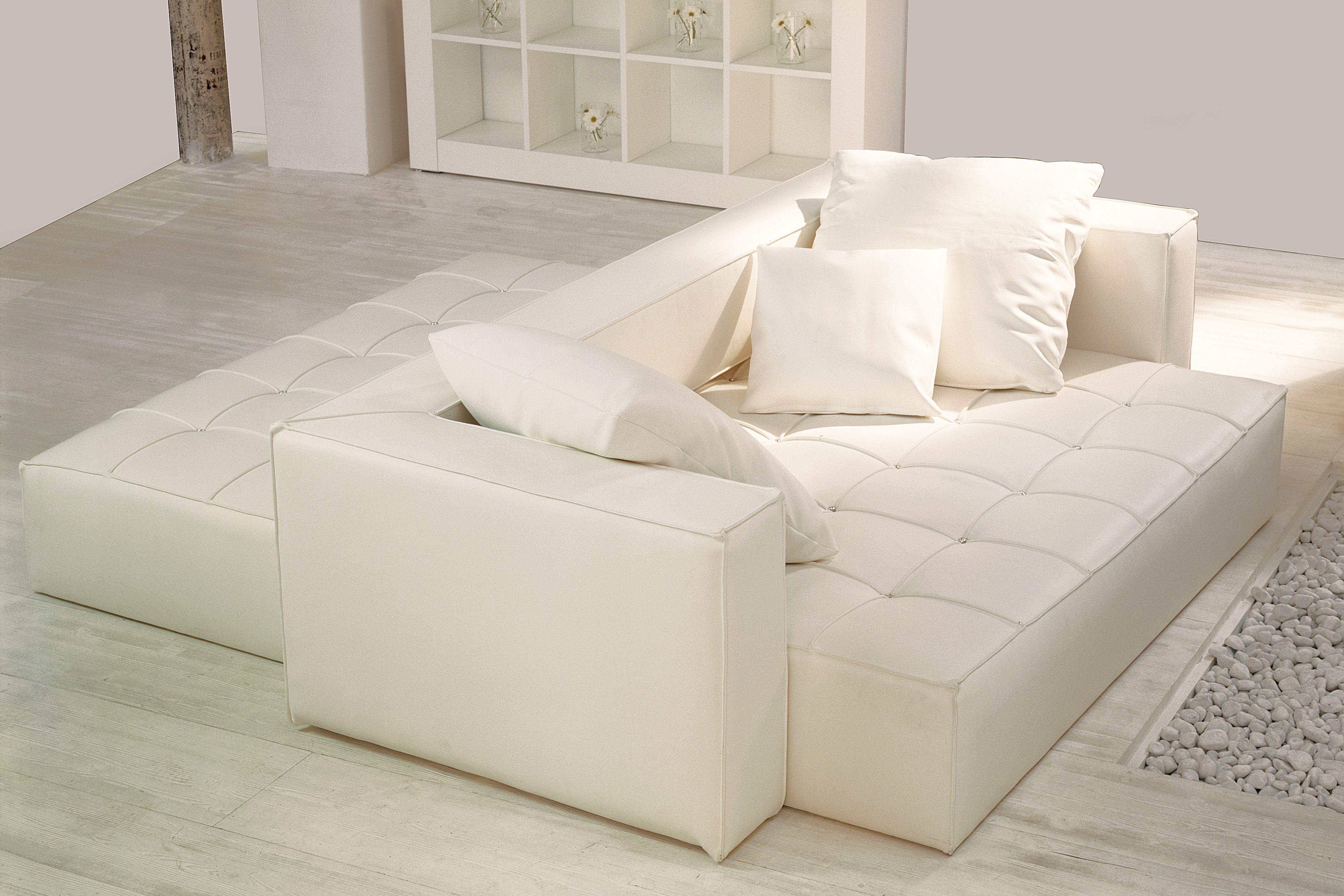 Divano passante in pelle bianca bifacciale Seduta scorrevole e regolabile per garantire il massimo