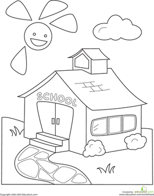 back to school kindergarten places worksheets color the schoolhouse - School Coloring Pages For Kindergarten
