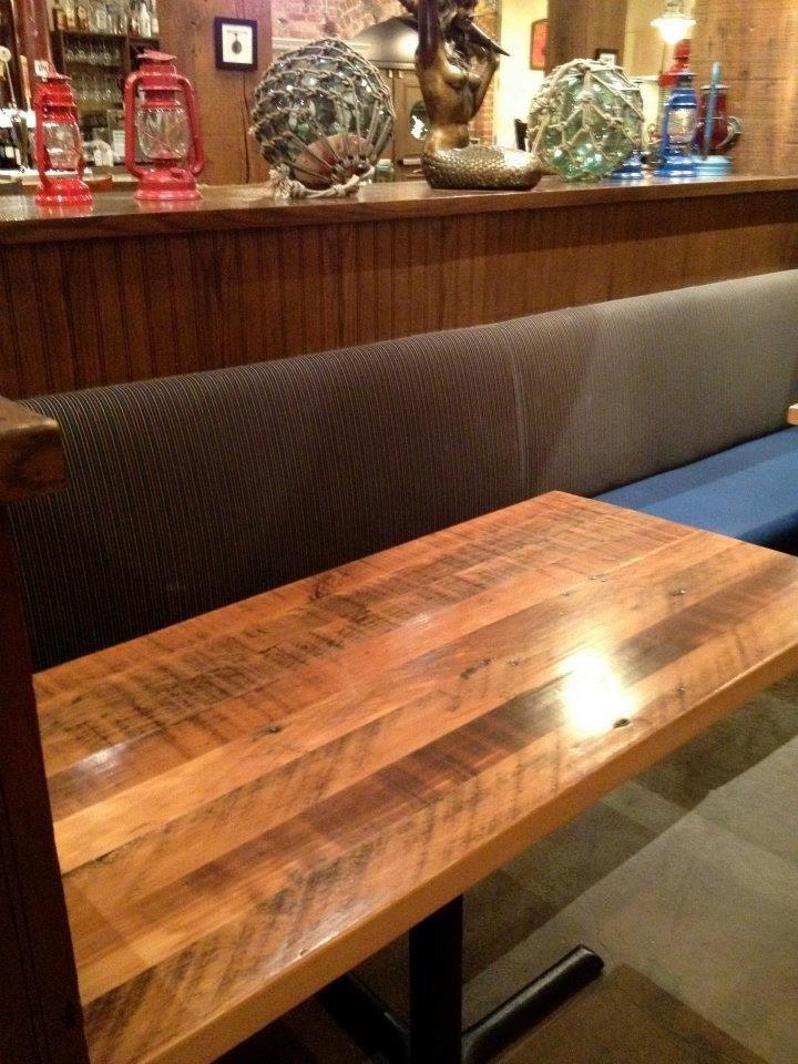Reclaimed douglas fir restaurant table top blue mermaid for Salvaged wood san francisco