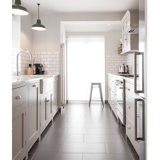 18 Beautiful Examples Of Kitchen Floor Tile: A Great Example Of How To Do A Galley Style Shaker Kitchen