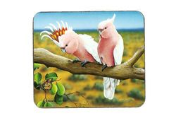 Major Mitchell Cockatoo Coasters.  Set of 6 - cork backed and a beautiful addition to any table.