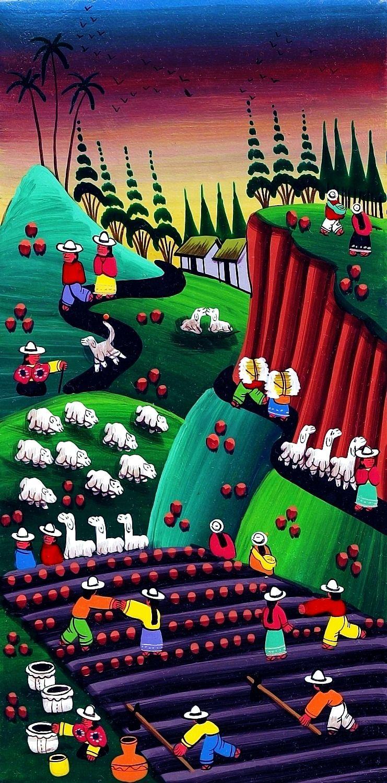Colombian Farming Landscape With Sheep And Llamas Naif Painting Colombian Art Painting Art