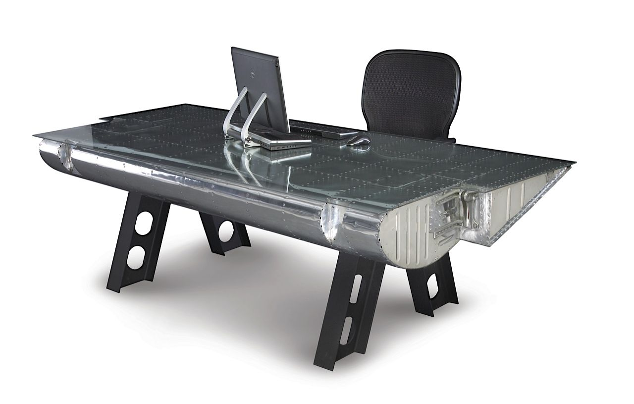 The C-119 flap desk made from vintage airplane parts. (From Motoart.com)