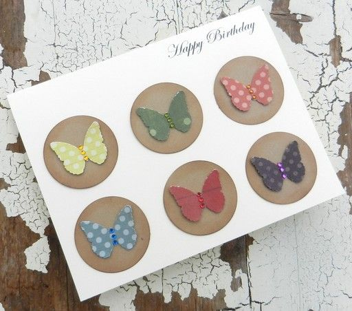 Birthday Greeting Card - Patterned Butterflies with Jewels, $5.0