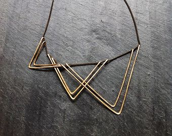 Gold Geometric Crescent Cascade Necklace-By by LoopHandmadeJewelry